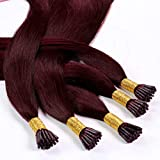 Hair2Heart 25 x 1g Extensiones Stick Hair de Micro Ring - 60cm - Liso, Color 99j Caoba