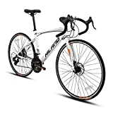 Hiland Road Bike for Women 700c Racing Bike City Commuter Bicycle with Disc-Brake 21 Speeds Drivetrain 49cm White