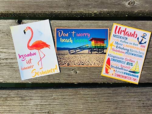 Flamingo - Irgendwo ist immer Sommer! Urlaub! Beach happy! Postkarten Set 3 Stück AnneSvea postcard Urlaubsgrüße Camper Bus Wohnmobil Wohnwagen Van Deko Adventskalender Befüllung