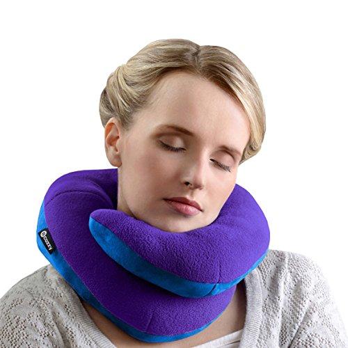 BCOZZY Kinn-stützendes Reisekissen – Kein nach vorne Kippen des Kopfes mehr – Stützt bequem Kopf, Hals und Kinn in jeder Sitzposition. EIN patentiertes Produkt. Erwachsenengröße, Lila