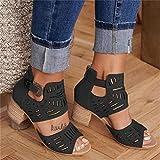 YHCS Vintage Ahueca hacia Fuera Sandalias Mediados de talón de Verano Slip-on Buckle Zapatos de Damas Artificial Abre Toe Casual Boda Bombas Mujeres Sandalias