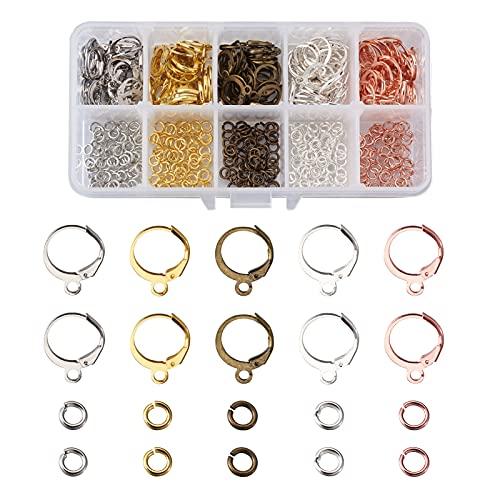 Cheriswelry 160 ganchos redondos de palanca para hacer joyas, alambre para orejas de leverback con 300 anillos de salto para colgar pendientes de joyería (5 colores)