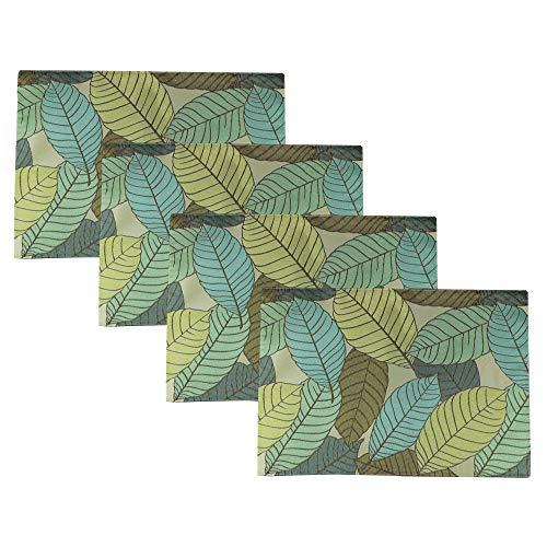 "All Smiles Spring Green Placemats Set of 4 Summer Teal Leaf Decorative Leaves Woven Fabric Cloth Placemat for Kitchen Dining Table 13""x18"",Hand Wash"