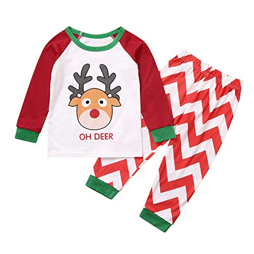 Newooh Christmas Pajamas for Family Long Sleeve Elk Printed Tops Stripe Long Pants Set, Family Matching PJ Pjs Sets Sleepwear Nightwear