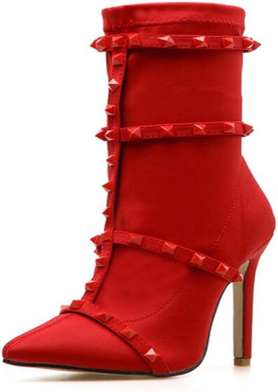 CITW Herbst Damenstiefel Großformat Spitzen Gürtel Rivet Damenstiefel Rote Rote Rote Und Schwarze Damen-Kurz Stiefel,rot,UK1 EUR35  b015d2