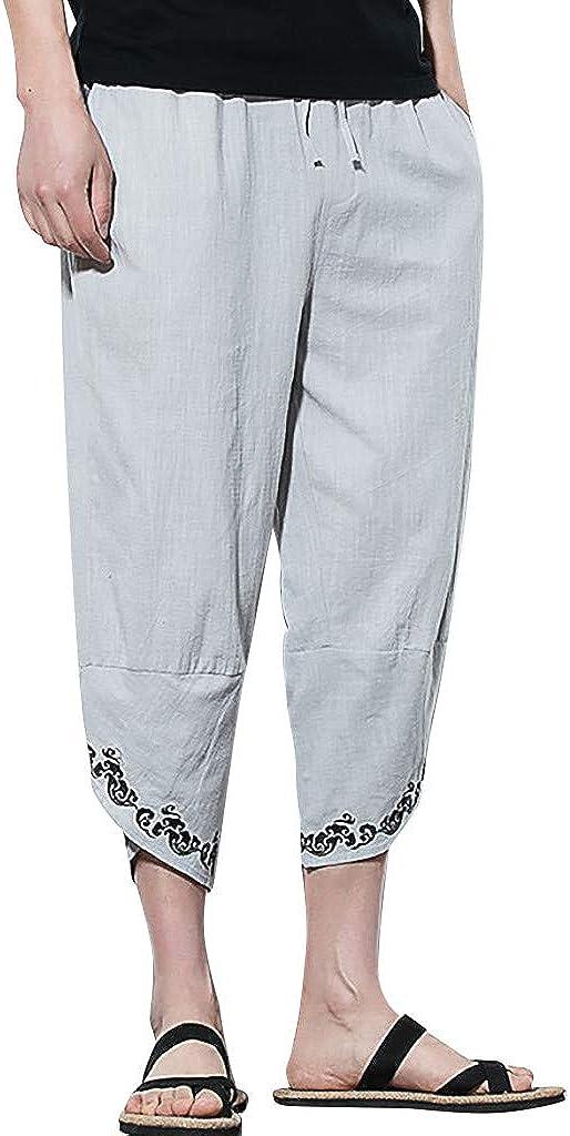 WUAI-Men Casual Harem Pants Jogger Track Sweatpants Loose Fit Baggy Yoga Beach Pants Capris Hippie Pants M-5XL