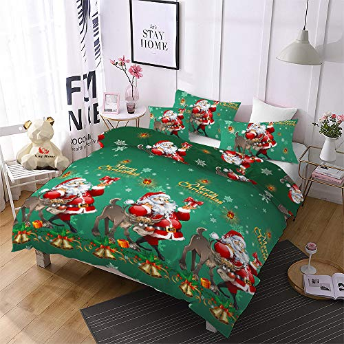 Christmas Bedding Set Twin Size Reversible Santa Claus Duvet Cover Reindeer/Tree/Bell Pattern Breathable Xmas Quilts Cover Decor Holiday Bedroom-(1 Duvet Cover, 2 Pillowcase)