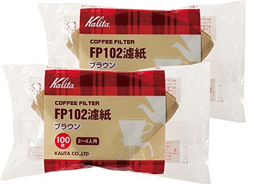カリタ コーヒーフィルター FP102濾紙(2~4人用) 100枚入り ブラウン 2袋セット #13129