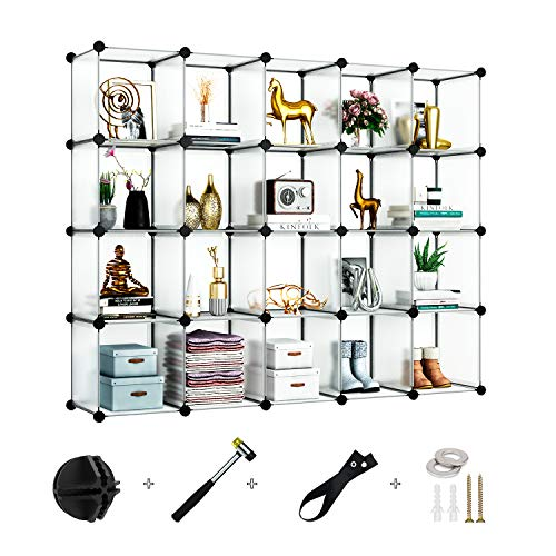 Greenstell Schrank mit 20 Würfeln, Regalsystem, Multifunktionsschrank mit Würfel, DIY Regal zur Aufbewahrung von Büchern, Kleidung, Spielzeug, Kunst, Dekorationen, Schuhe