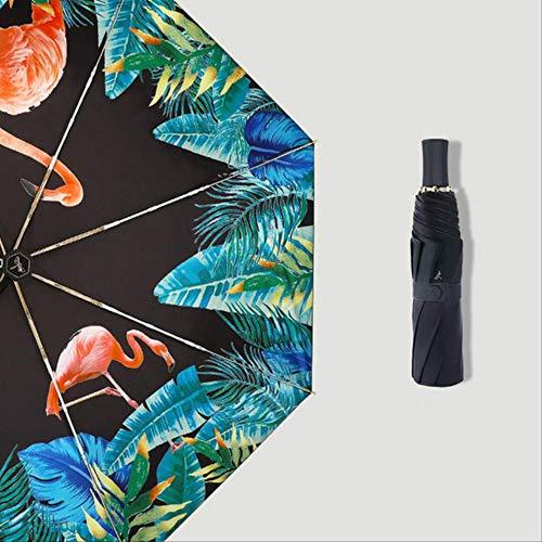 NJSDDB paraplu Gouden Paraplu Delicate Flamingo Ontwerp Drievoudige Paraplu Vrouw En Dame Winddichte Wind Resistant Parasol Zwarte Coating, Flamingo-Zwart