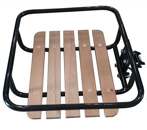 Lastpak Portapacchi anteriore per bicicletta olandese, supporto ruota, colore nero, in legno