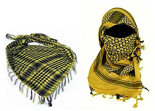 ARUNDEL DIENSTEN EU Geel Arabische Shemagh KeffIyeh Katoen Sjaal Arabische Sjaal Woestijn Hoofd Sjaal Camping Sjaal Hoofd Sjaal Gezicht Mesh Woestijn Wrap Bandanas