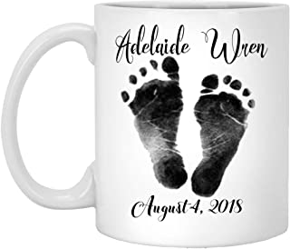 Your Baby's Actual Footprint Coffee Mug - Personalized Foot Print or Hand Print Coffee Cup with Name and Birthday - Custom Mom Dad Mug - Custom Coffee Mug - Personalized Unique Gift Ideas