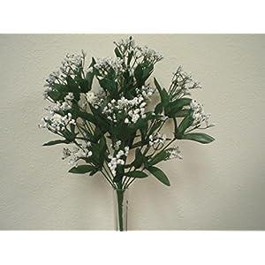 Silk Flower Arrangements JumpingLight White Gypsos Baby Breath Bush Artificial Foam Flowers 17'' Filler 14-588WT Artificial Flowers Wedding Party Centerpieces Arrangements Bouquets Supplies