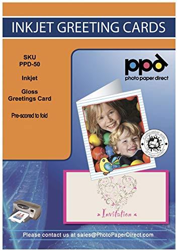PPD Inkjet 260 g/m2Blanko Grußkarten Weiß Glänzend Bedruckbar A5 gefalzt auf A6 x 50 Karten - PPD050-50