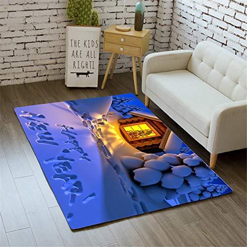 SONGHJ Weihnachten Polyester Teppich Wohnzimmer Anti-Rutsch-Matte Weihnachten Home Decor Teppich