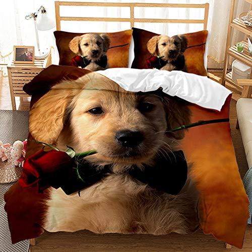 QIAOJIN Juego de ropa de cama 3D de gatos y perros, 100% microfibra, estampado de animales en 3D, bonita funda nórdica y funda de almohada con cremallera, para niños y niñas (135 x 200 cm)