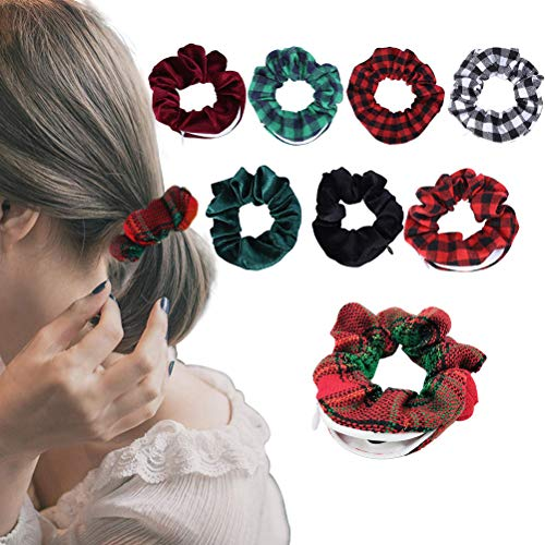 Tixiyu 8pcs mujeres tocado de pelo niñas Navidad Scrunchie cremallera bolsillo corbata para el pelo señoras banda tocado accesorios para el cabello 11 x 4 cm