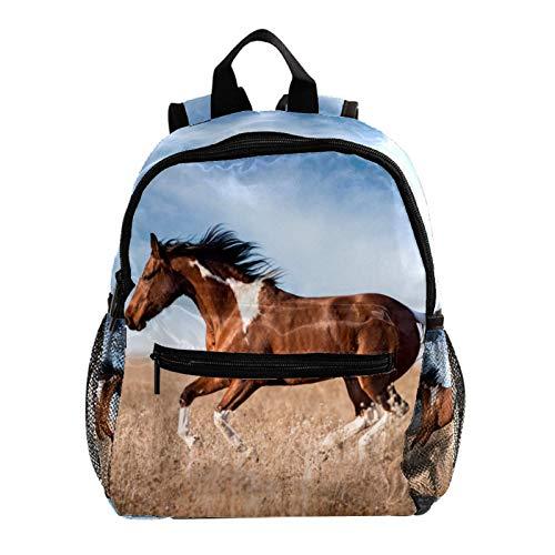 Kleinkinderrucksack Grünland laufendes Pferd Kinderrucksack Jungen Mädchen Kinderschule Büchertasche Kleiner Rucksack für Kinder Rucksack mit verstellbarem Riemen 25.4x10x30 cm