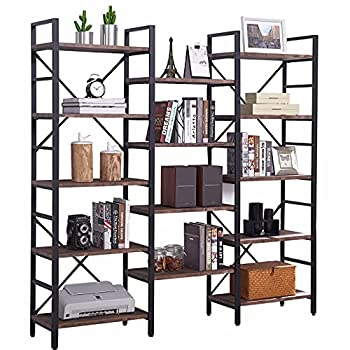 SUPERJARE Triple Wide 5-Tier Bookshelf Rustic Industrial Style Book Shelf Wood and Metal Bookcase Furniture for Home & Office - Vintage Brown