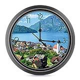 Reloj de pared silencioso, 25 cm, Lake Lucerne,Suiza - Reloj de pared decorativo sin garrapatas clásico digital funciona con pilas, reloj de hogar/oficina/escuela