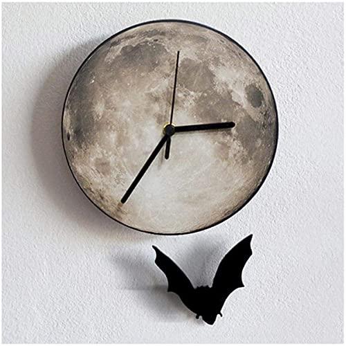 Halloween Bat Moon Wall Clock, 30 cm Reloj de Pared Creativo Material Acrílico Impermeable Metal Puntero Cuarzo Relojes Mute