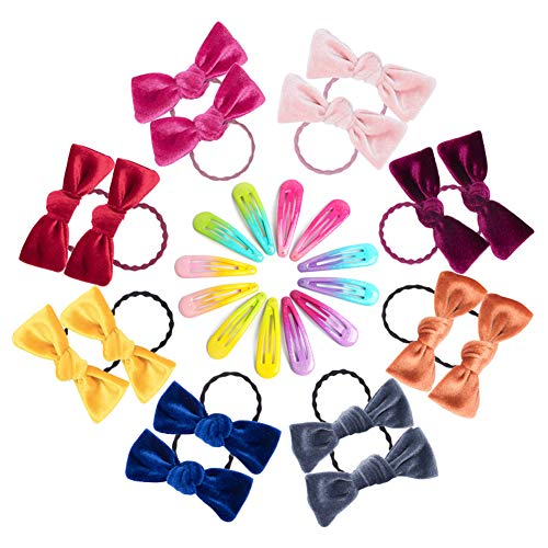 FullHappy Bowknot Hair Ties Hair Clips for Little Girls Kids, Scrunchies for Hair Elastic Hair Bands Hair Accessories for girls Toddler, Soft and Sturdy, No Hurting Hair