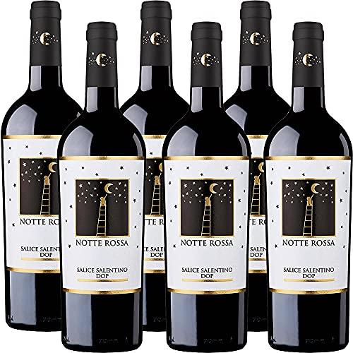 Salice Salentino Doc   Notte Rossa   Vino Rosso Puglia   6 Bottiglie 75cl   Idea Regalo