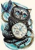 Awesocrafts 5D-Diamant-Malerei-Set für Erwachsene und Kinder, Katzenuhr, Schmetterling, Alice im Wunderland, zum Selbermachen, Diamantkunst, Malen nach Zahlen mit Diamanten (Katze)