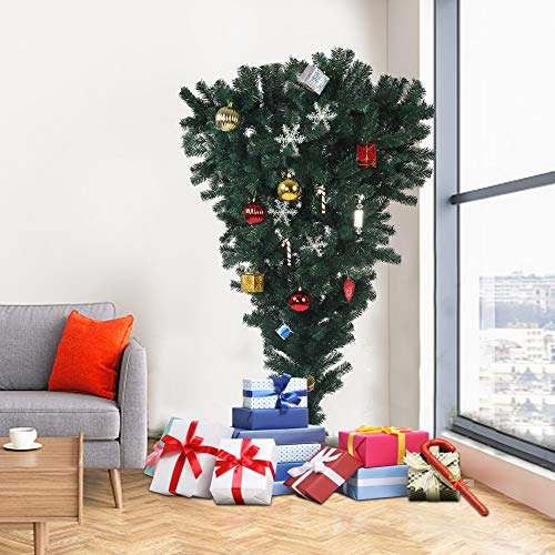 Livebest 5.5 Foot Upside Down Artificial PVC Christmas Tree with 578 Tips Spruce Xmas Tree