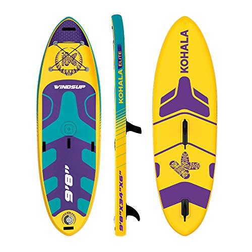 KOHALA Tabla de Paddle Surf Windsup Color Amarillo - Tipo Allround/Windsurf - Capacidad Máxima 140 kg - Aletas: 1 Normal + 1 de Sistema USBOX