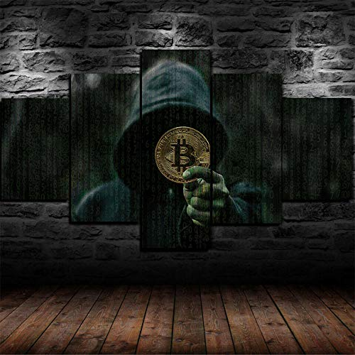 CVBGF Impresiones sobre Lienzo 5 Piezas Enmarcado Arte,Dinero Bitcoin Criptomoneda Paisaje Modernos Baratos hogar Oficina Salon Cuadros Decoracion - 80X150CM