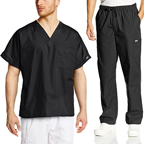 Cherokee Mens Workwear Scrub Set Medical/Dentist Uniform V-Neck Top & Cargo Pant (Black, Medium)