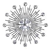 Wifehelper Orologio da Parete a Forma di Fiore in Argento Metallizzato con Fronzoli Scintillanti per Soggiorno(Fiore Rotondo)