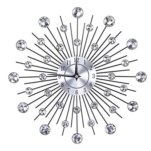 Wifehelper Funkelnde Bling Metallic Silber Blume Fmige Wanduhr Wohnzimmer 3D Abnehmbare Moderne Kreative(Round Flower)