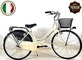 "SPEEDCROSS Súper Promoción – Bicicleta 26″ de Mujer ""Holanda"" Senza Cambio con Cesta – Color Beige"