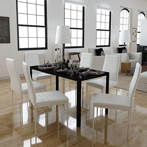Vislone Conjunto de Mesa y 6 Sillas de Comedor Mesa de Comedor con Sillas de Vidrio Templado Blanco y Negro
