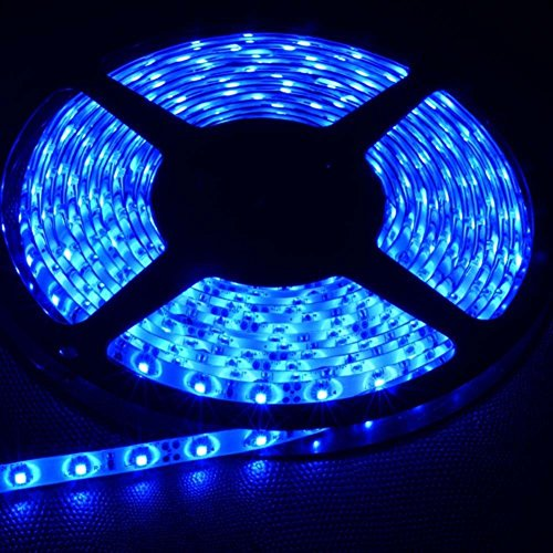 FAVOLCANO LED Strip Light, Blue, IP65 Waterproof, 12V DC, SMD 3528, 300 LEDs, 60Leds/M, 16.4 ft/5M Flexible LED Tape for Thanksgiving, Christmas, Home, Car, Bar, Club, Indoor, Outdoor Decor