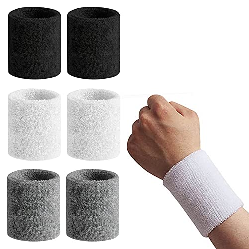 HENGBIRD Sportschweißbänder 6 Set, Feuchtigkeitsabsorbierend Handgelenk Unisex, Wristband für Fußball Basketball Fitness Yoga Laufen Tennis (Schwarz+Weiß+Dunkelgrau)