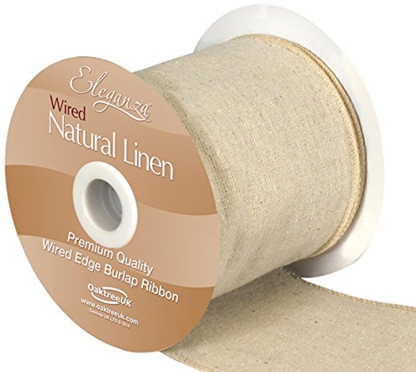 Eleganza Linen Burlap Natural Wired Edge Ribbon 100mm x 1 Metre