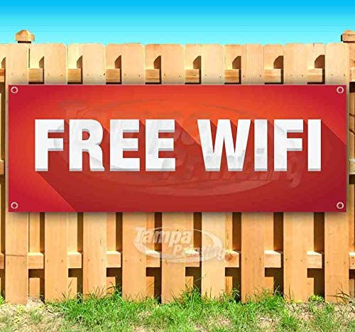 Free WiFi 13 oz Banner Non-Fabric Heavy-Duty Vinyl Single-Sided with Metal Grommets