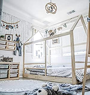 Full Size House Bed Frame with Railings