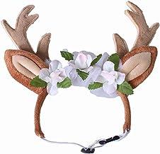 BIGBOOM - Gorro de Navidad con diseño de Reno para Perro, Gato, Correa para Perros, Disfraz con Flores y Orejas de Reno para Navidad, pequeño, Mediano y Grande, marrón, Small