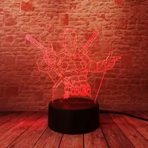 Lámpara de ilusión 3D de superhéroe Luz de noche 3D para niños niñas Lámpara de escritorio de mesa 16 Cambio de color Lámpara de decoración Regalos Festival de cumpleaños Navidad para adolescente