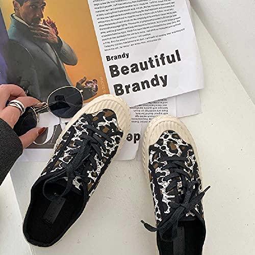 N\C Primavera y verano Zapatillas de deporte de moda Leopard Print Baotou Half Slippers Flat Zapatos de mujer 35/Leopard Print Blanco