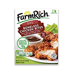 Farm Rich Boneless Chicken Bites, Barbecue Style Boneless Chicken Wings, White Meat Fritters, Frozen