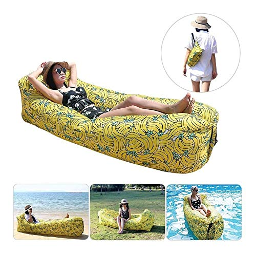 Pools Inflatable Lounger - Mattress Portable Air Couch Banana Chair - Sofa Hammock with Storage Waterproof for Beach Travelling Camping Hiking Party Park