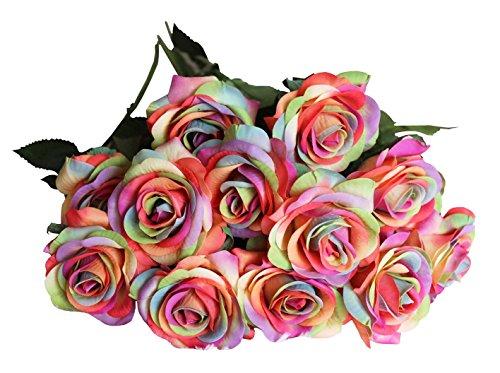 12 Stems Rainbow Rose Artificial Wedding Flower Rose Bouquet