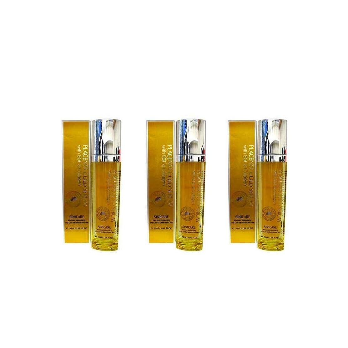 事前拡大するバーチャル[Sini Care]新!EGF配合プラセンタ美容液(Placenta Gold Serum With EGF)50ml×3本セット[海外直送品]