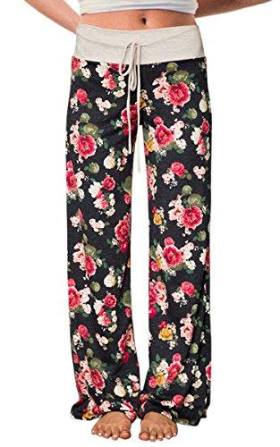 AMiERY Damen Bequeme beiläufige Pyjamahose mit Blumenmuster Tunnelzug Palazzo Freizeithose mit weitem Bein Tag S (US 4) Schwarz 3